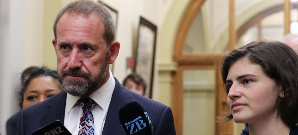 Justice Minister Andrew Little was joined by the Green Party's Chloe Swarbrick to answer reporters' questions on the cannabis referendum. Photo: Lynn Grieveson