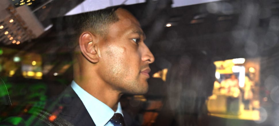 Israel Folau is pictured leaving his code of conduct hearing in Sydney. Photo: Getty Images
