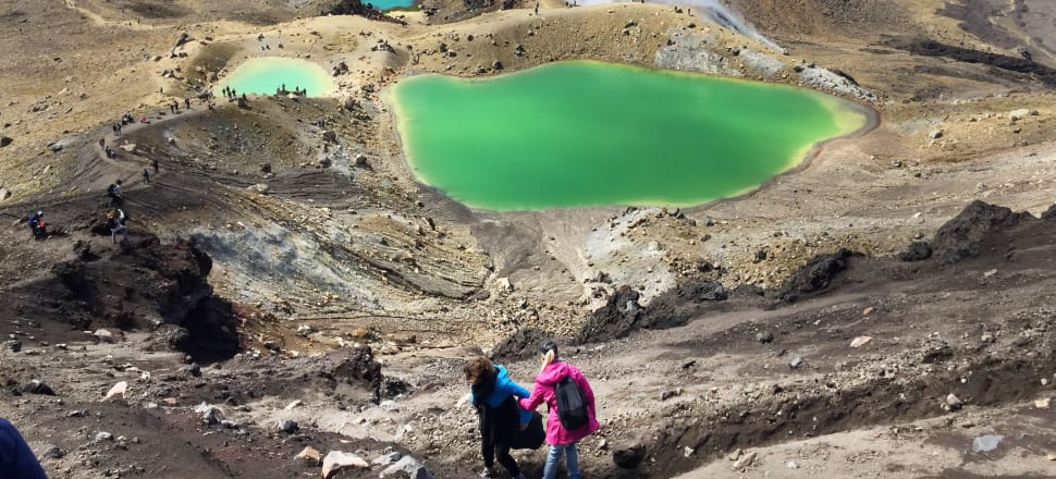 Crater lakes on Tongariro crossing DOC Great Walk.  Photo by Bernard Hickey