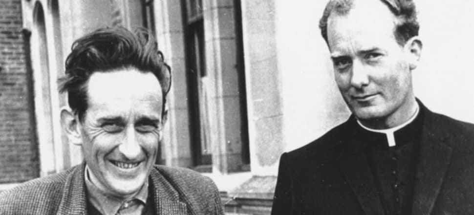 James K Baxter, left, and John Weir. Photo was taken in 1967 at St Bede's College in Christchurch. Photo: John Hogan S.M via RNZ