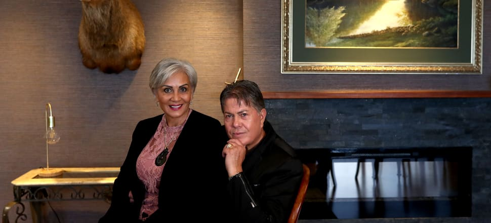 Hannah Tamaki launches her Coalition New Zealand party, alongside her husband, Destiny Church leader Brian Tamaki. Photo: Hannah Peters/Getty Images