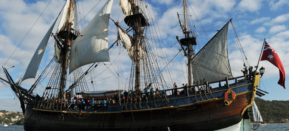 Will the Endeavour represent Pākehā at the coming 'celebrations' of Cook's arrival? Photo: Getty Images