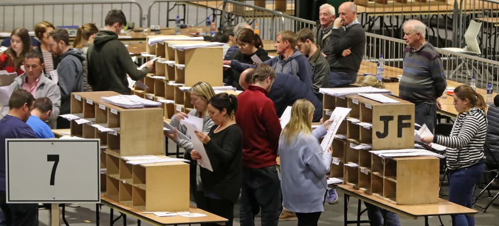 Counting votes in the European elections in Dublin. Photo: Niall Carson/Getty Images