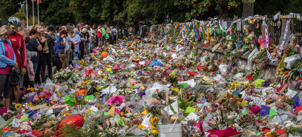 The outpouring of grief and support for Muslims after New Zealand's worst mass shooting took the physical form of floral tributes in central Christchurch. Photo: Getty Images