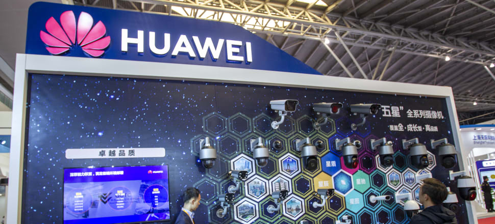 The Huawei stand featuring intelligent security at an exhibition on public safety in Shanghai last month, Photo: Getty Images