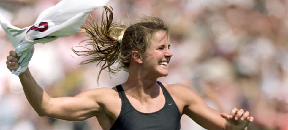 Brandi Chastain's eye-opening celebration at the 1999 Fifa Women's World Cup helped women's sport reach new heights of interest, but it still struggles to attract commercial backing. Photo: Getty Images.