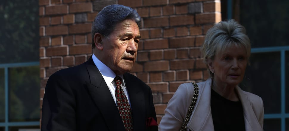Jan Trotman, right, stays in the background of her famous partner Winston Peters. Photo: Getty Images