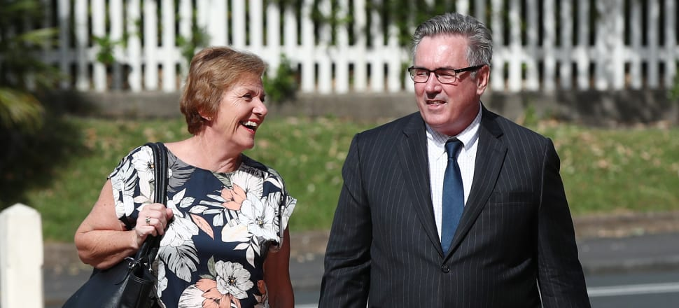 Former cabinet minister Anne Tolley arrives at the High Court with one of the National Party's legal team, Peter Kiely. Photo: Getty Images