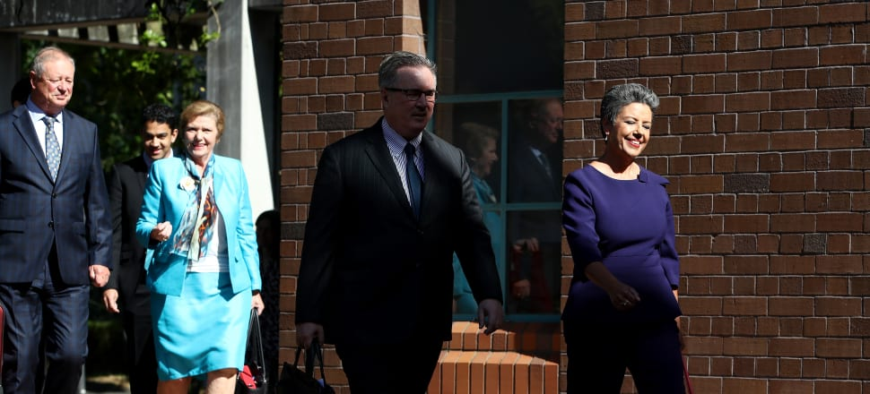 MPs Anne Tolley and Paula Bennett and their lawyers arrive at the High Court. Photo: Getty Images.