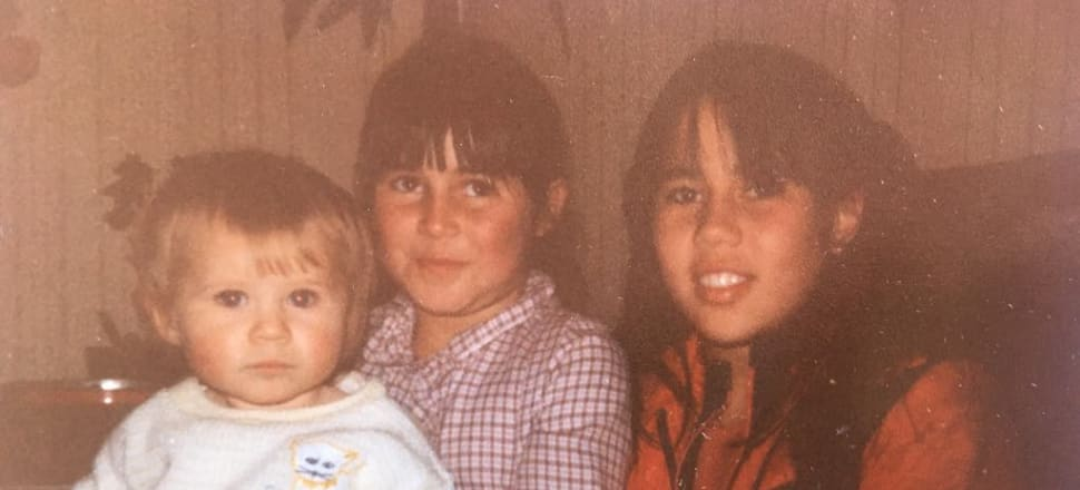 Westport writer Becky Manawatu (as a baby) with her sisters Nic and Tam