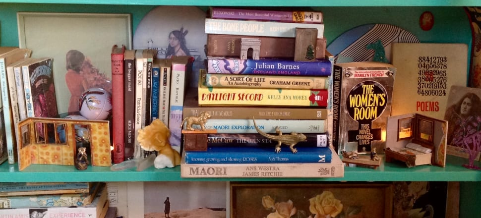 Patricia Grace, Ans Westra, Kelly Ana Morey, Plato, and a Richie McCaw library book: a bookshelf in the gracious home of Dunedin essayist and poet Talia Marshall.