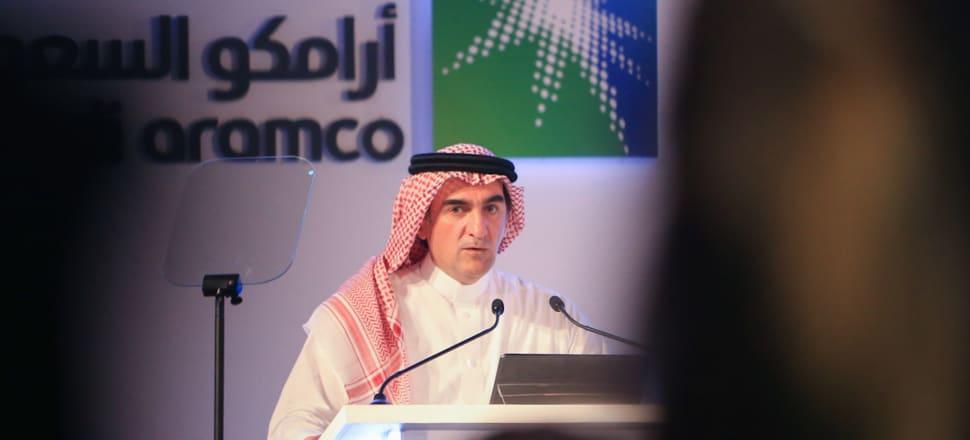 Yasir al-Rumayyan, chairman of Saudi Aramco, at a press conference. Photo: Getty Images