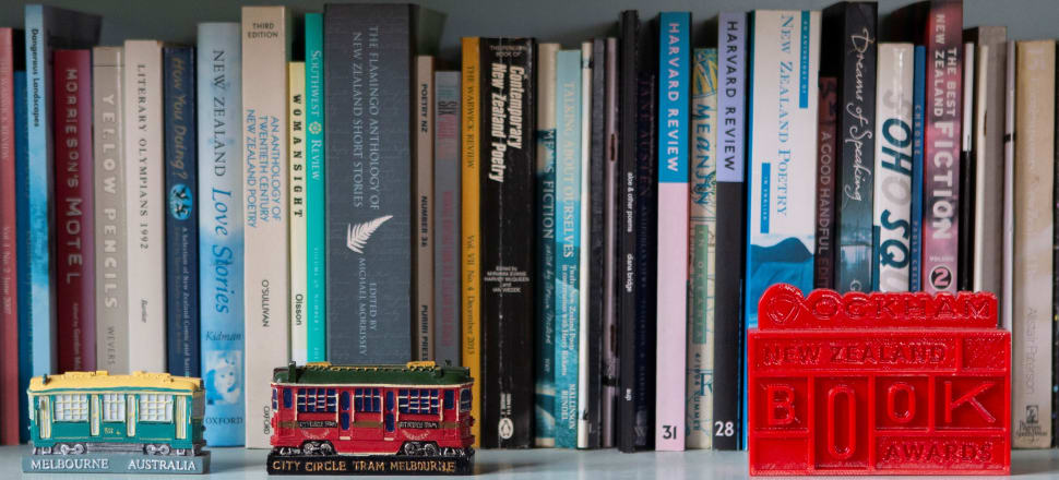 New Zealand poetry, toy trams, and a book award: a bookshelf in the New Plymouth home of writer Elizabeth Smither,