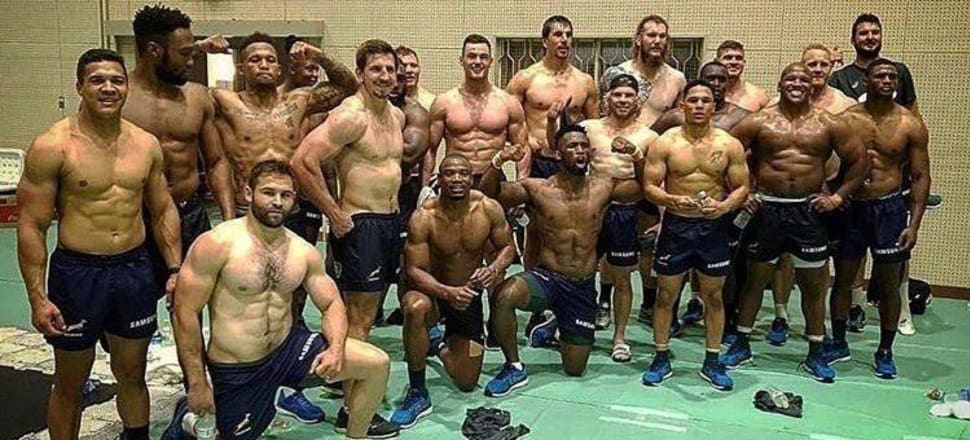 The Springbok team sending a warning pre-tournament - pumped up and fit. Photo: Twitter