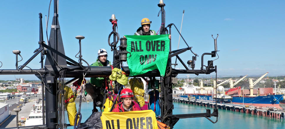 Protestors occupy an OMV support vessel. Photo: Supplied