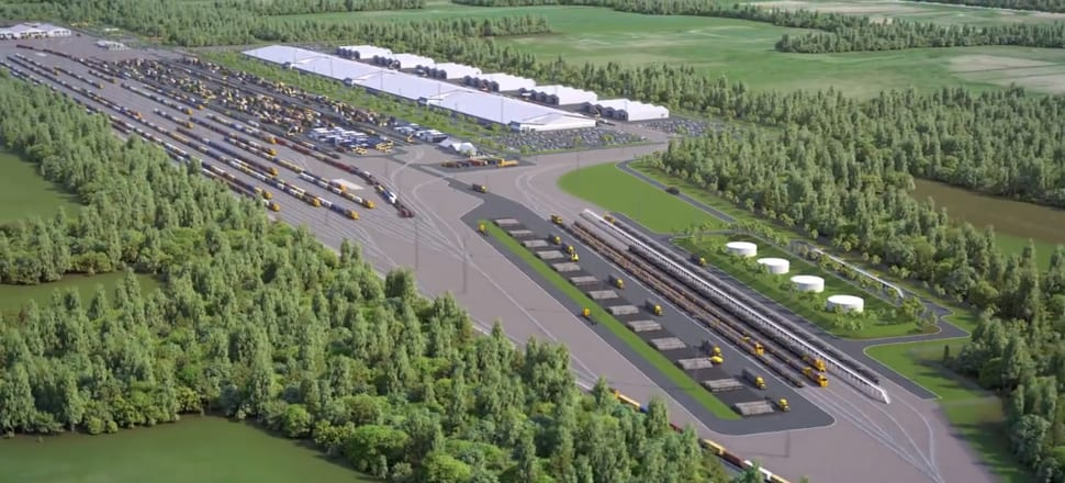 An excerpt from a KiwiRail-produced video shows the scale of the planned freight hub.