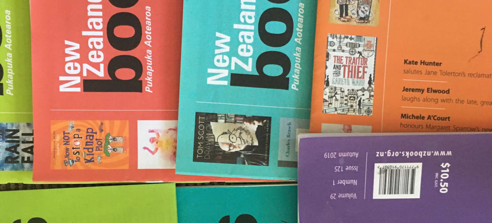 Quite badly taken photograph of some issues of New Zealand Books. Photo: Steve Braunias.