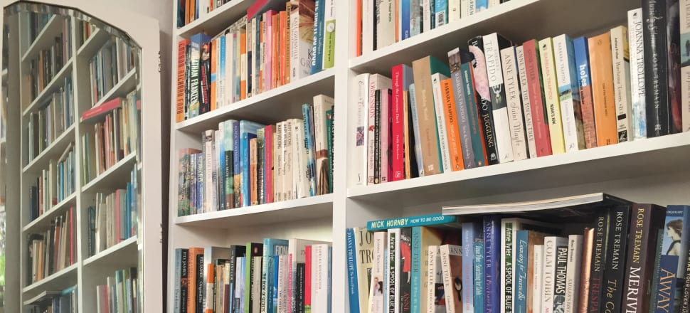 The collected works of Anne Tyler, several by Rose Tremain, something by Paul Thomas: a bookcase in the Wellington home of author Linda Burgess.
