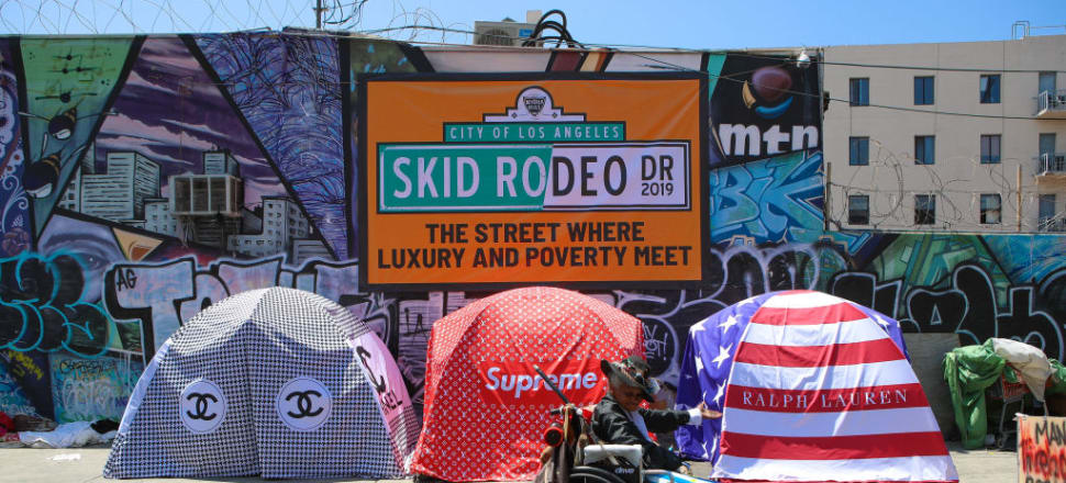 """Skid Row is Los Angeles's ghetto home to 5000 homeless people. Pictured is British artist Chemical X's  controversial """"Skid Rodeo Drive"""". Photo: Getty Images"""