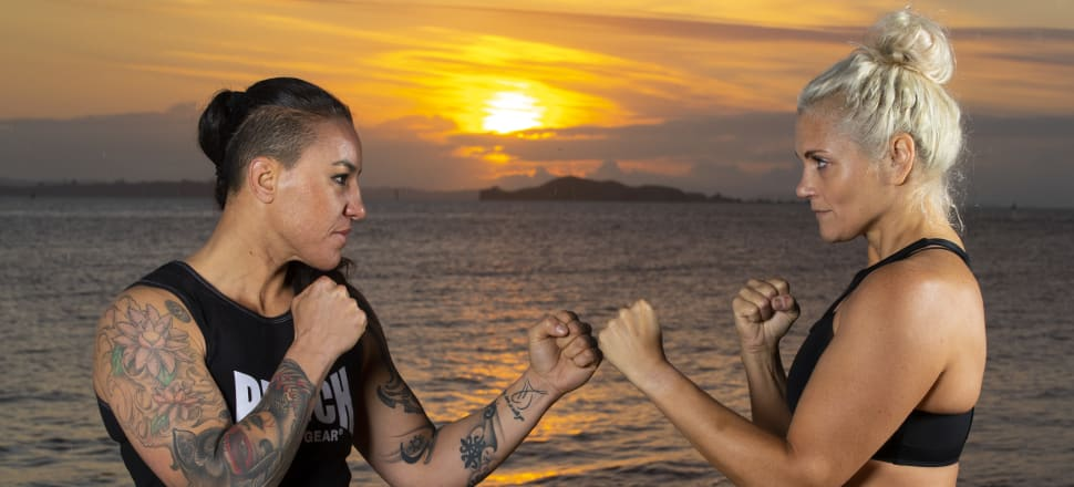 Rivals Geovana Peres and Claire Hafner meet for the first time, in front of an Auckland sunrise, before their WBO world light heavyweight title fight. Photo: Phibbs Visuals.