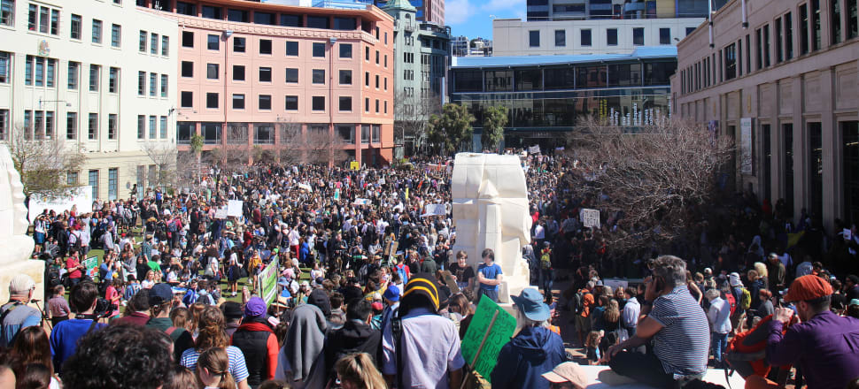 Crowds gather in Civic Square in Wellington for the school strike for climate last week. Photo: Madeline Grieveson