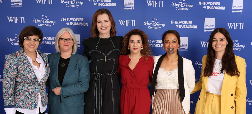 Actor and activist Geena Davis (centre) with speakers and guests during The Power Of Inclusion Summit 2019 at Aotea Centre in Auckland, Photo: Getty Images