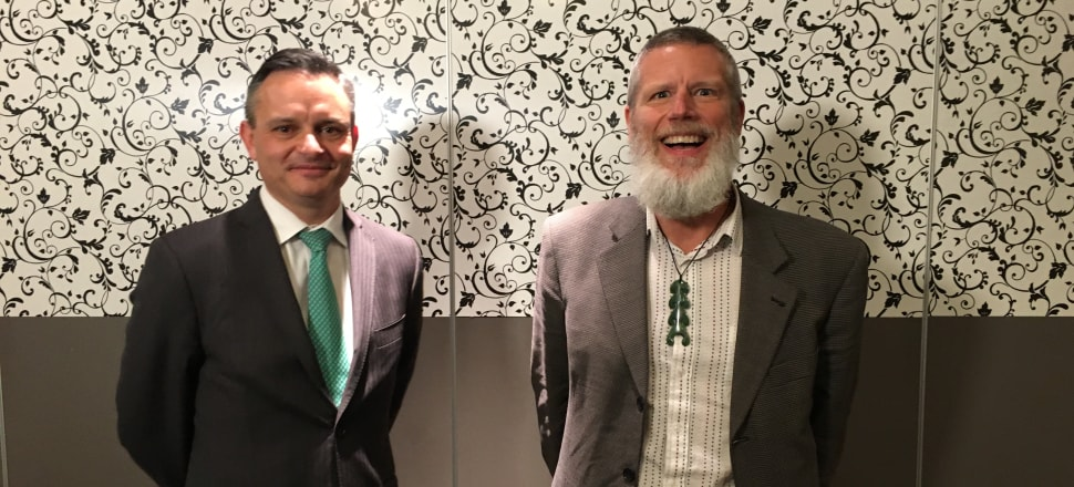 Climate Change Minister James Shaw, left, with Reserve Bank chair and University of Canterbury head Rod Carr, who has been named chair of the proposed Climate Commission. Photo: Eloise Gibson
