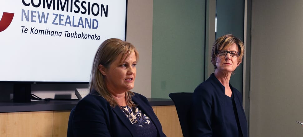 Commerce Commission Chair Anna Rawlings and CEO Adrienne Meikle held a media conference to announce two independent reviews have been launched into the information breach. Photo: Lynn Grieveson