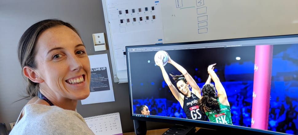 Silver Fern Bailey Mes at her new desk at Sky Sport, where she hunts out photos of Kiwi sports stars, like this one. Photo: Sky Sport.