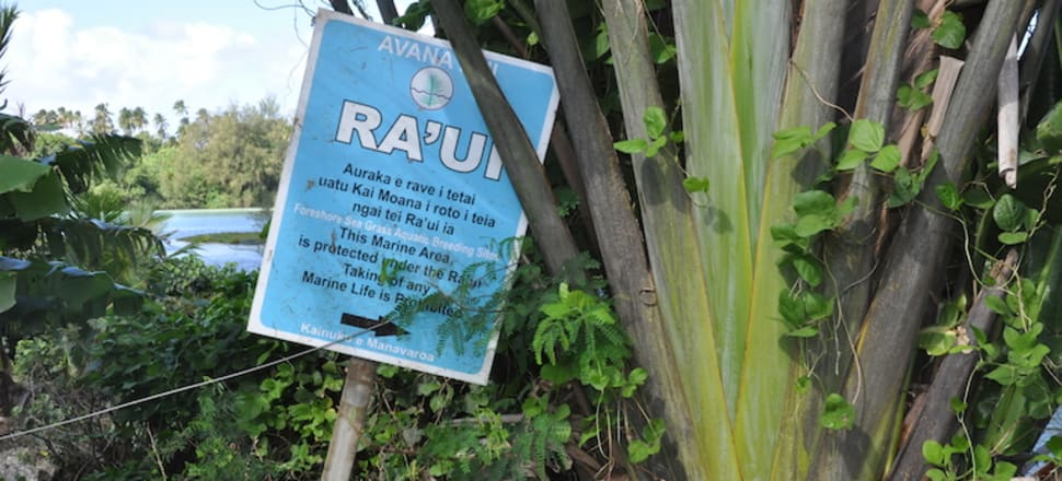 A neglected ra'ui sign by Muri Lagoon on Rarotonga, where ra'ui have fallen out of use. Photo: Monica Evans/Mongabay