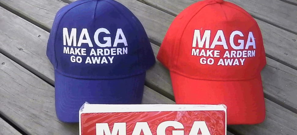 The man selling these hats and stickers on Trade Me threatened to destroy mosques.