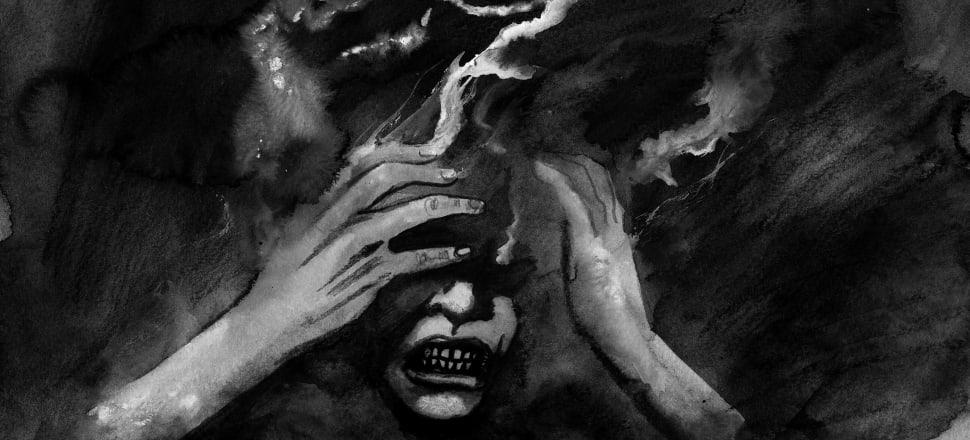 "Image: ""Anxiety"", an artwork by Australian horror writer-artist Greg Chapman. ."