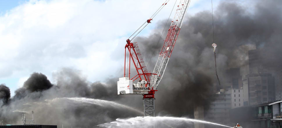 Fire services fight the blaze at the New Zealand International Convention Centre in Auckland. Photo: Getty Images