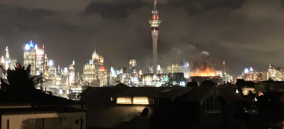 The fire (seen here from St Mary's Bay) burnt through the night. Sky City has yet to detail the full effects on its business plans. Photo: Briar McCormack