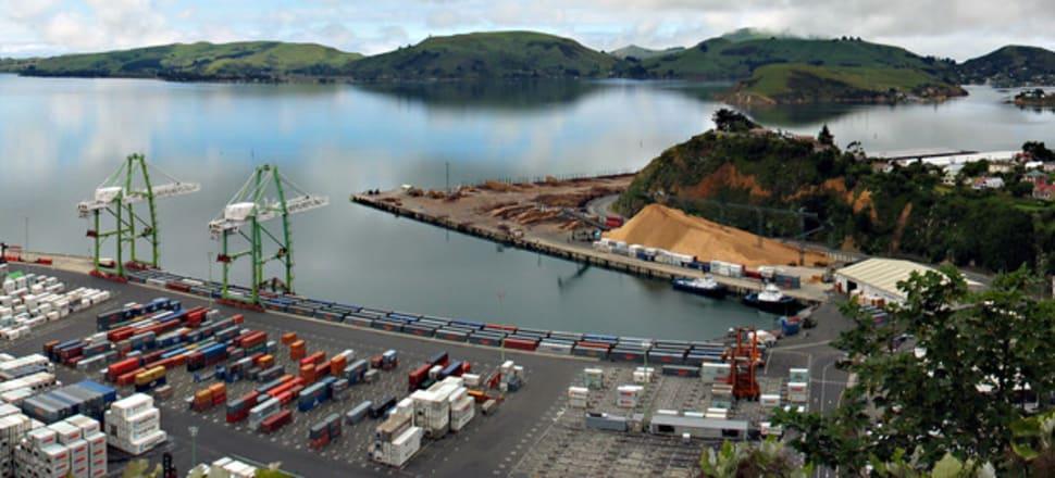 The Leda Maersk was grounded entering Port Otago. Photo: Donovan Govan, Otago Regional Council