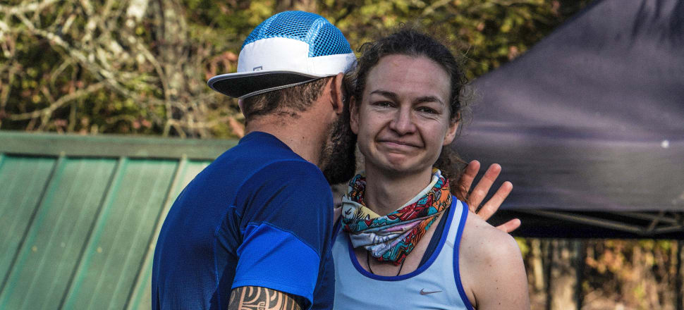 The disappointment is obvious on the face of Nelson doctor Katie Wright, consoled at the end of 50 hours of non-stop running in the Big's Backyard Ultra race in Tennessee. Photo: IRun4Ultra.