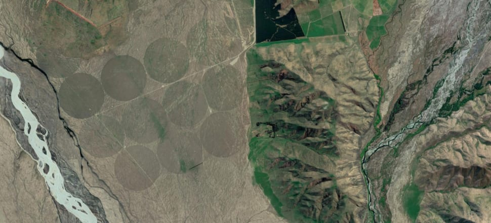 Evidence of pastoral intensification and agricultural conversion work at Simons Pass Station, in the Mackenzie Basin. Image: Google Maps