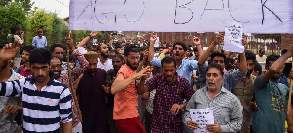 Kashmir protesters last weekend aiming their anger at India's government and unprecedented security restrictions. Photo: Getty Images