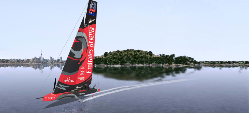 A rendering of what Emirates Team New Zealand's radical first AC75, about to be launched, may look like sailing on the Hauraki Gulf. Credit: ETNZ.