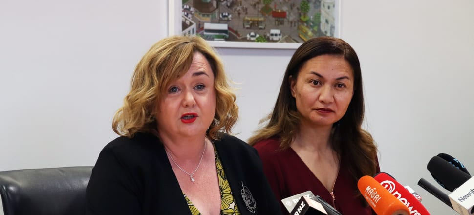 Megan Woods and Marama Davidson announce details of KiwiBuild reset, which should have been called 'Shambhala'. Photo: Lynn Grieveson