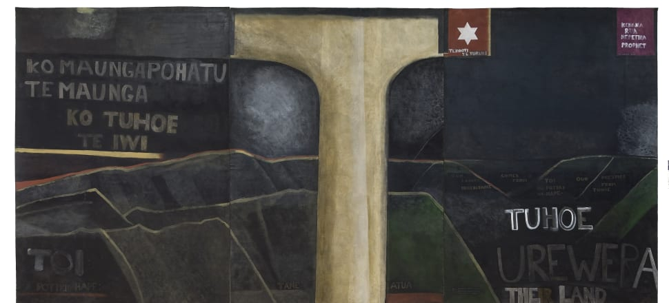 Colin McCahon, The Urewera Mural, 1975. Image courtesy of Ngai Tūhoe and Auckland Art Gallery Toi o Tāmaki