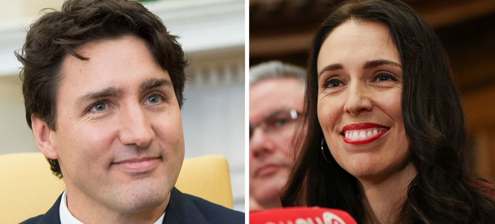 The 'sunny ways' of Justin Trudeau, and Jacinda Ardern's 'relentless positivity' have gone through the wringer lately. Photos: Getty/Lynn Grieveson