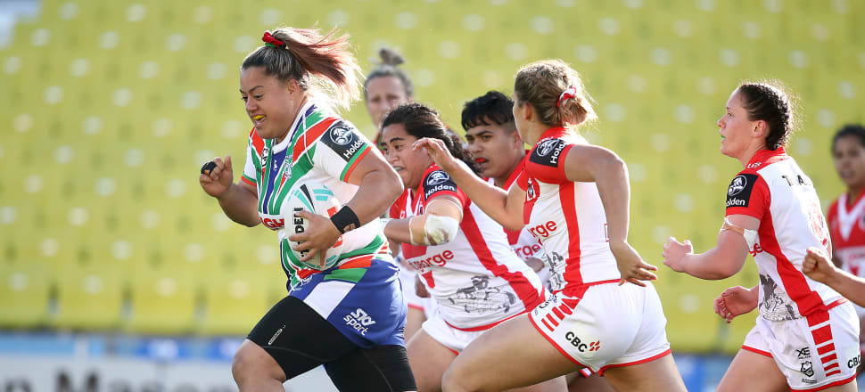 Warrior woman Tyler Reid is on the charge in her NRLW debut against the Dragons in a historic game at Mt Smart Stadium. Photo: Getty Images.