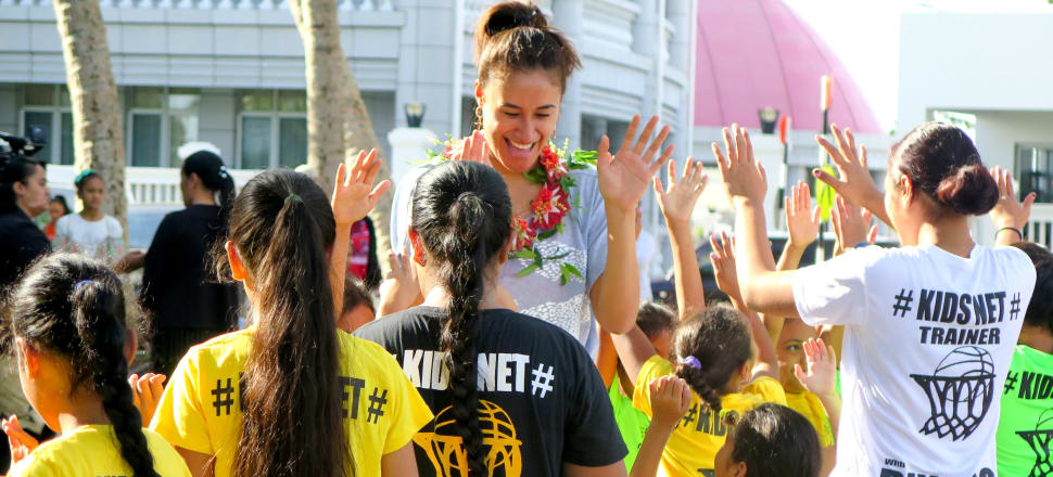 World Cup champion Silver Fern Maria Folau visiting Tonga as an ambassador for NetGo, to get more kids in the Pacific playing netball. Photo: Netball NZ.