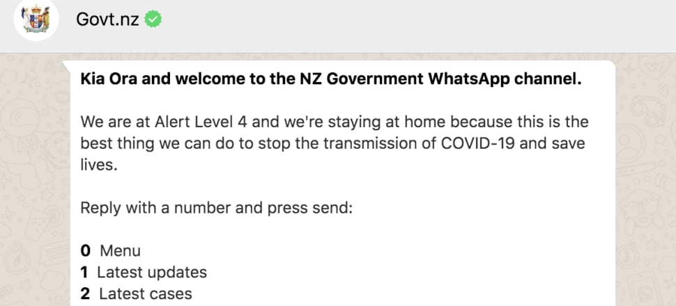 A new app unveiled today by the Government to dispense information about Covid-19 can be scaled up to help with pandemic tracking and diagnosing the illness. Photo: Screenshot of NZ Government WhatsApp channel