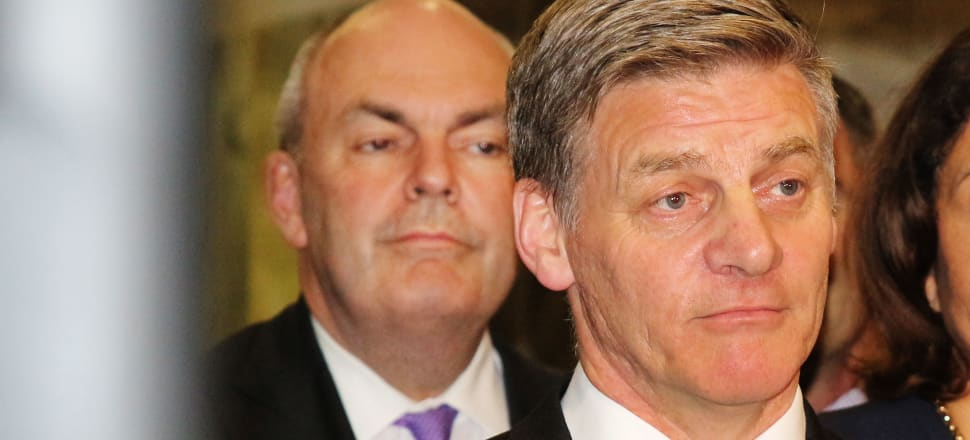 Then Prime Minister Bill English and then Finance Minister Steven Joyce in their final moments in Government, just after the announcement by New Zealand First Leader Winston Peters that he would join Labour to form the current Coalition Government. Joyce and English were side-by-side fighting the economic fires of finance company collapses and earthquakes from 2008 to 2017. Photo: Lynn Grieveson.