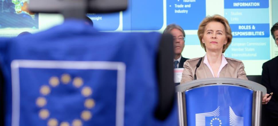 European Commission President Ursula von der Leyen visits the EU Emergency Response Coordination Centre during the coronavirus crisis. Photo: Getty Images
