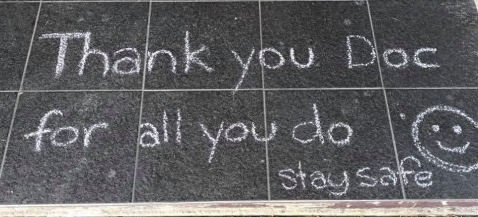 When Dr Eileen Merriman and her family went for a walk, they returned home to find a message chalked on their doorstep.