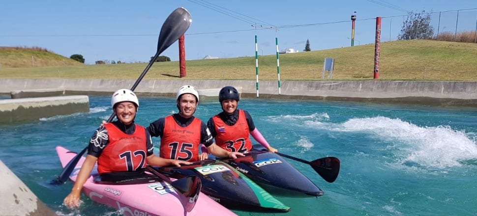 Tauranga siblings Ella, Bryden and Jane Nicholas - all doctors - are set to become a trio of Olympians at next year's Tokyo Games, representing the Cook Islands in canoe slalom. Photo: Jamie Troughton/Dscribe Media.