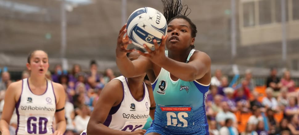 Teenage shooter Grace Nweke seizes the ball in the first - and only - game her Mystics side has played in a 2020 ANZ Premiership halted by Covid-19. Photo: Michael Bradley Photography.